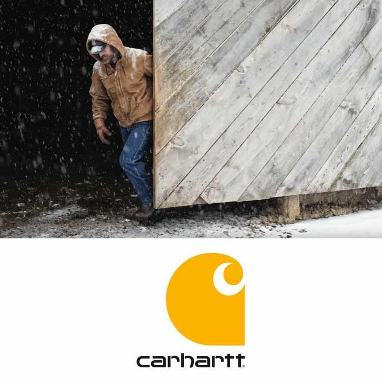 Carhartt logo with man wearing Carhartt jacket