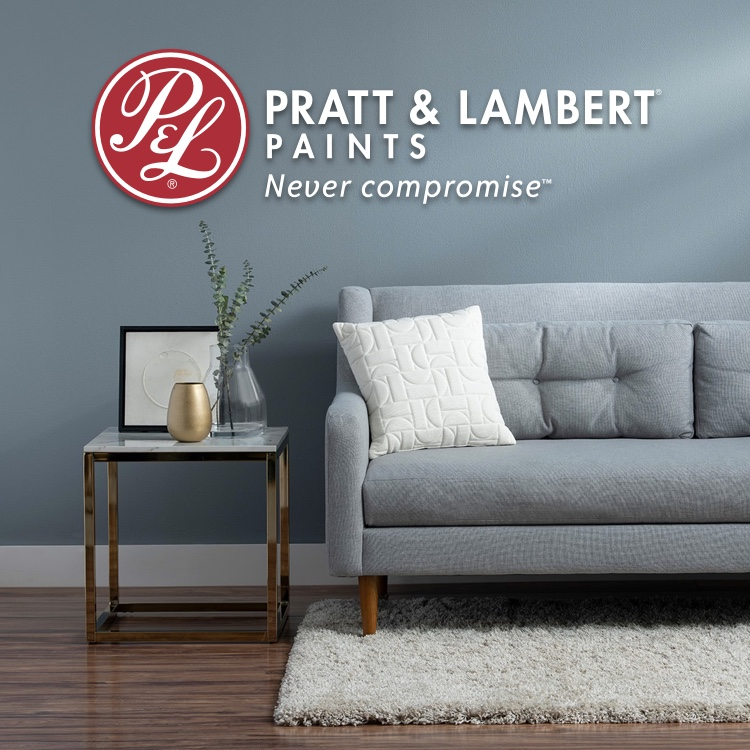 Pratt & Lambert logo with blue-painted room