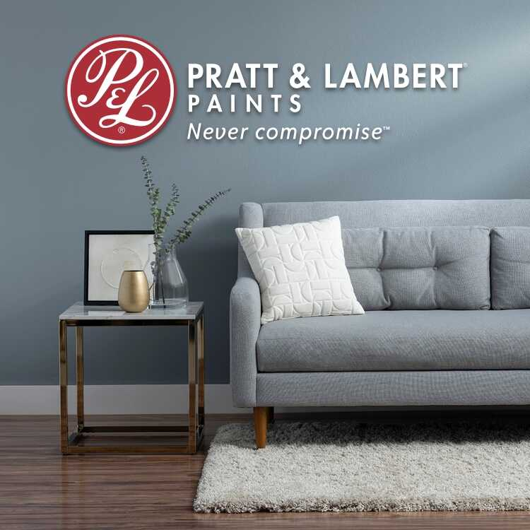 Pratt & Lambert logo with blue-painted room