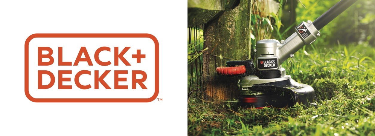 Black and Decker logo with weed eater in background