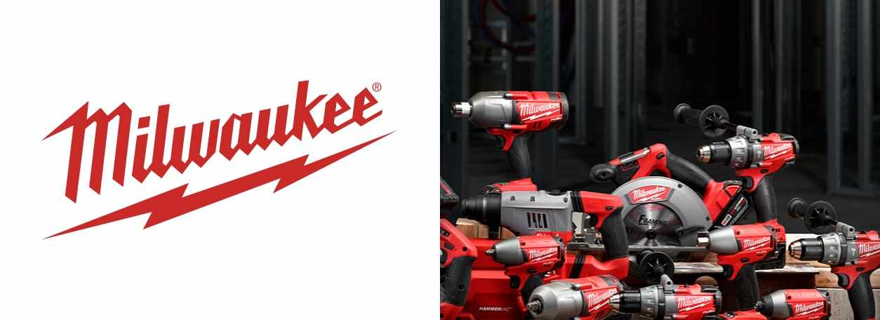 Milwaukee logo with power tools